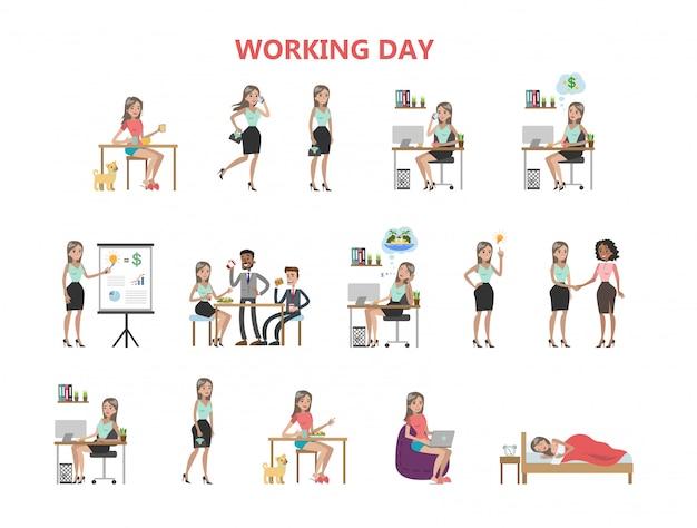 Journée de travail de la femme.