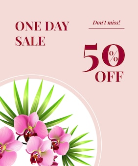 Une journée de vente, cinquante pour cent de réduction, ne manquez pas l'affiche avec des fleurs roses sur un cercle blanc.