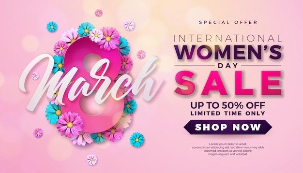 Journée de vente des femmes design avec fleur sur fond rose