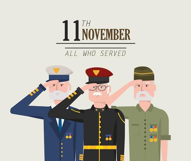 Journée des vétérans célébrant la force armée