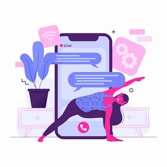 Journée de yoga en classe sport design plat en ligne