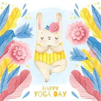 Journée de yoga heureux dessiné à la main