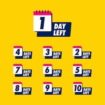 Jours restants avec badge calendrier à vendre ou au détail.