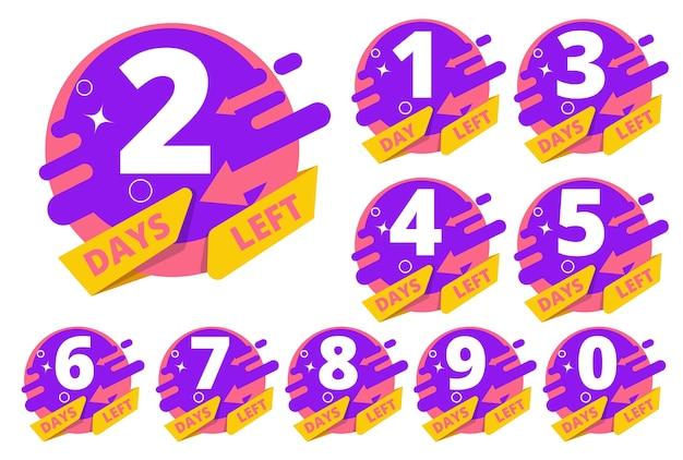 Jours restants. compte à rebours heures horloge temps business badges modèle ensemble coloré. insigne de compte à rebours gauche, illustration de vente de minuterie
