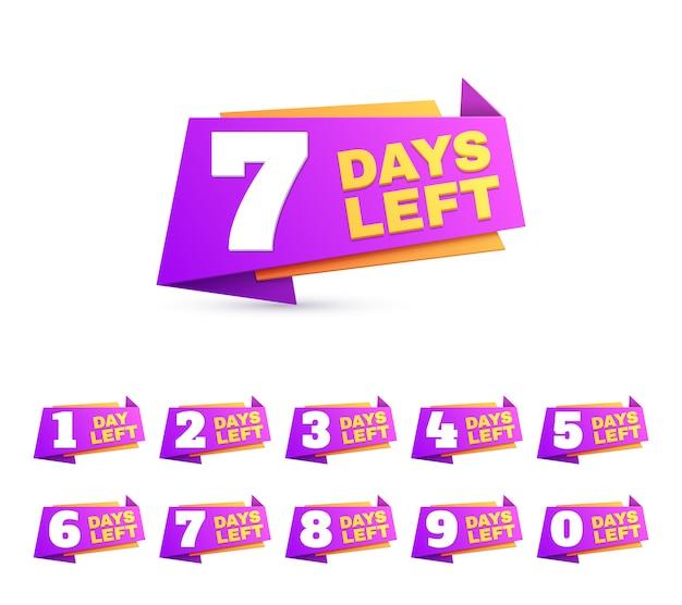Jours restants. jour du compte à rebours pour aller les chiffres. ensemble d'enseignes de vente offre