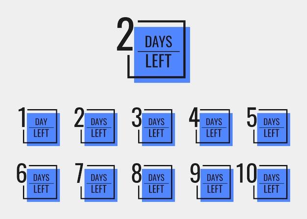 Jours restants pour passer de 1 à 10. modèle de conception de bannières géométriques pour vos besoins.