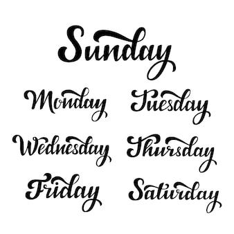 Jours de la semaine. lettrage à la main.