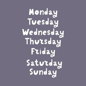 Jours de la semaine manuscrits
