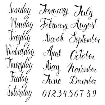 Jours de la semaine, mois et chiffres