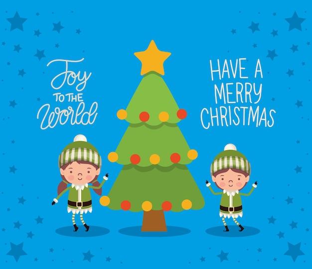 Joy le mot, ayez un lettrage de noël joyeux avec deux elfes et un arbre.