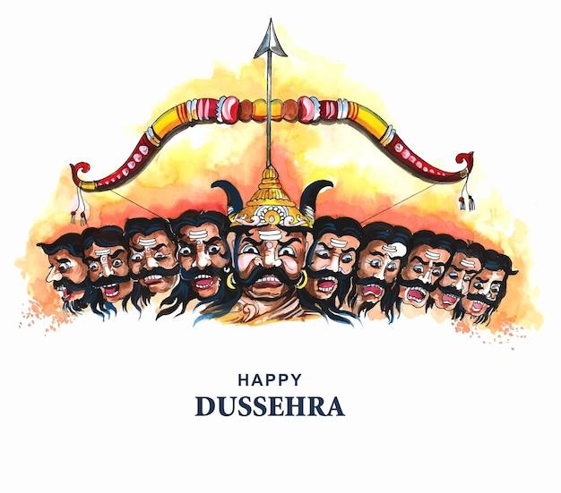 Joyeuse célébration de dussehra ravan en colère avec un design de carte à dix têtes