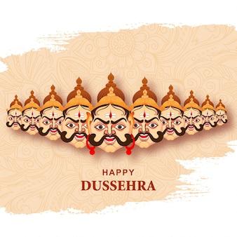 Joyeuse célébration dussehra ravan en colère avec fond de carte à dix têtes