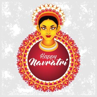 Joyeuse célébration navratri avec la déesse amba et la conception d'illustration vectorielle mandala