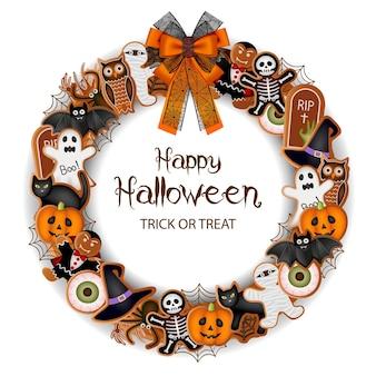 Joyeuse couronne d'halloween avec des toiles d'araignées et un arc de biscuits au pain d'épice