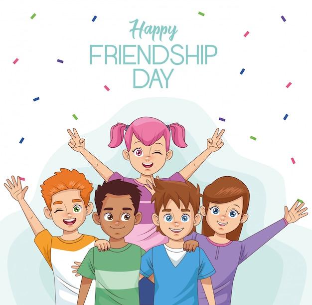 Joyeuse fête de l'amitié avec un groupe d'enfants et de confettis