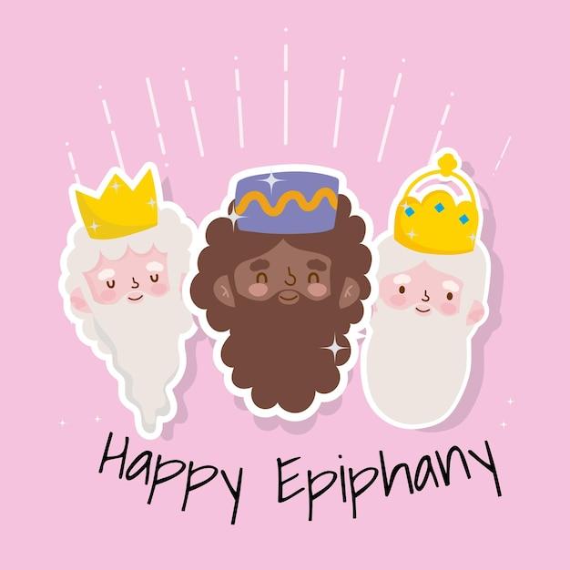 Joyeuse fête chrétienne de l'épiphanie, trois rois sages