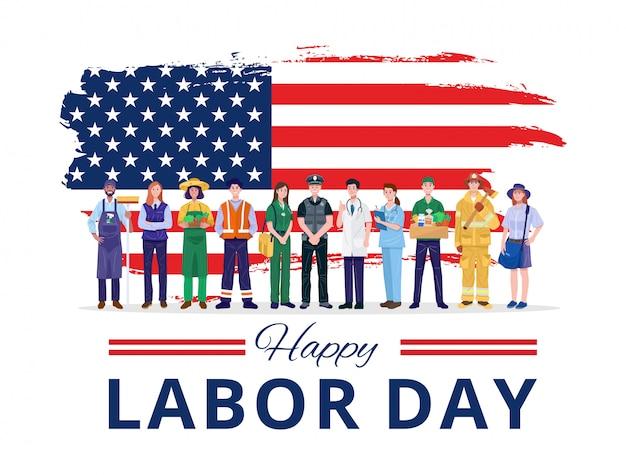 Joyeuse fête du travail. diverses professions personnes debout avec le drapeau des etats-unis.