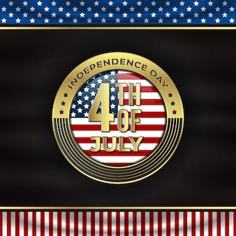 Joyeuse fête de l'indépendance avec badge doré et fond noir drapeau circulaire