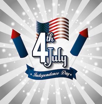 Joyeuse fête de l'indépendance, célébration du 4 juillet aux états-unis d'amérique