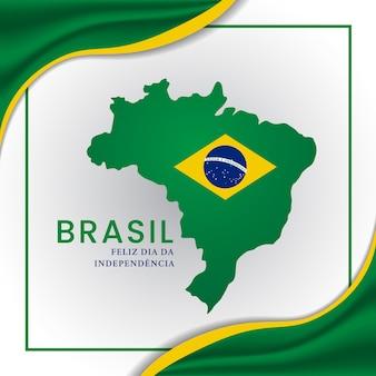 Joyeuse fête de l'indépendance du brésil avec l'île du brésil et le drapeau