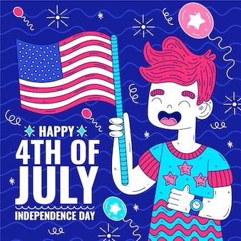 Joyeuse fête de l'indépendance avec l'homme et le drapeau