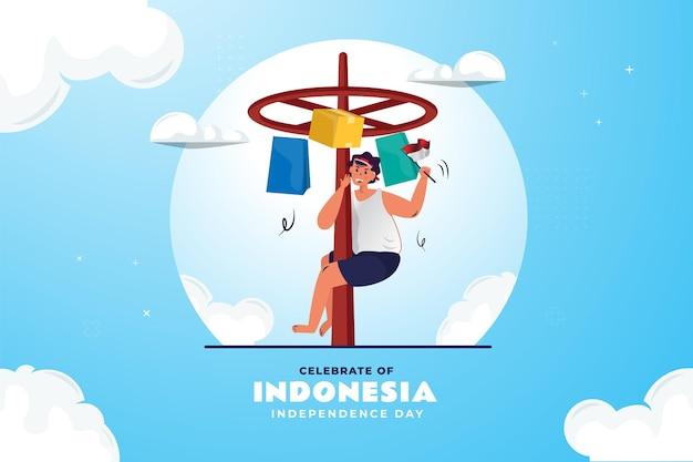 Joyeuse fête de l'indépendance indonésienne avec illustration de la tradition panjat pinang