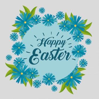 Joyeuse fête de pâques avec décoration de fleurs et feuilles