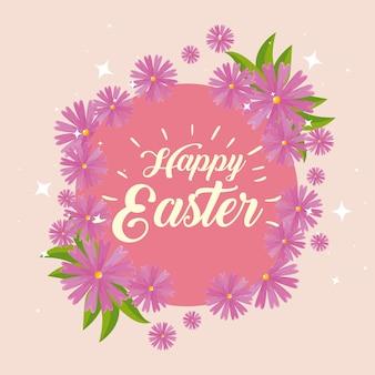 Joyeuse fête de pâques avec décoration de fleurs