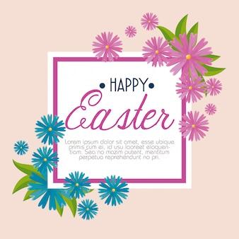 Joyeuse fête de pâques avec des fleurs et des feuilles