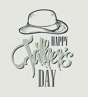 Joyeuse fête des pères. carte de lettrage à la main.
