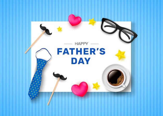 Joyeuse fête des pères. carte de voeux avec l'inscription, une tasse de café, une cravate et des verres.