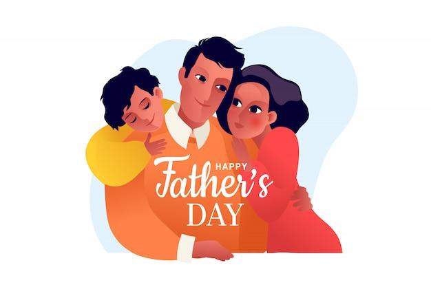 Joyeuse fête des pères. enfants avec père. papa embrasse sa fille et son fils