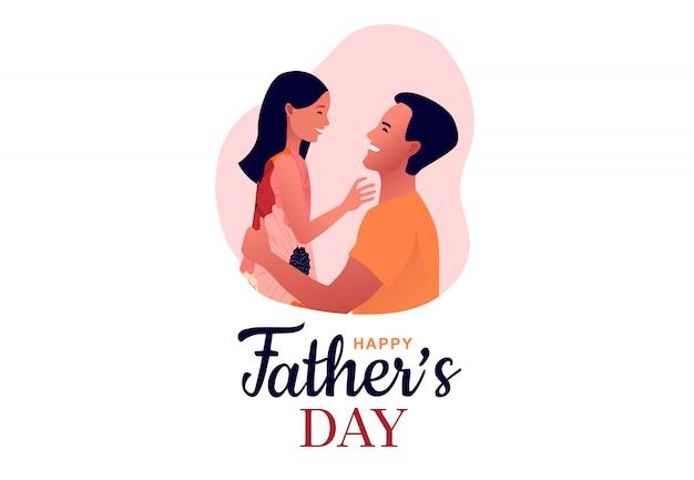 Joyeuse fête des pères. papa embrasse sa fille. père tient l'enfant