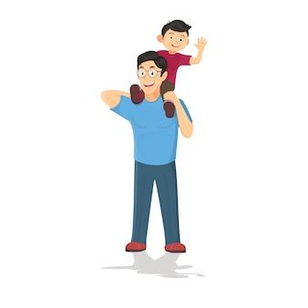 Joyeuse fête des pères. papa tenant son fils