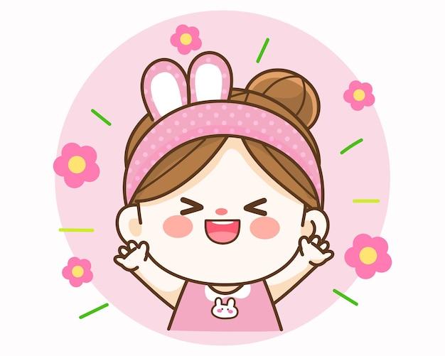 Joyeuse fille mignonne heureuse illustration d'art de dessin animé dessinés à la main