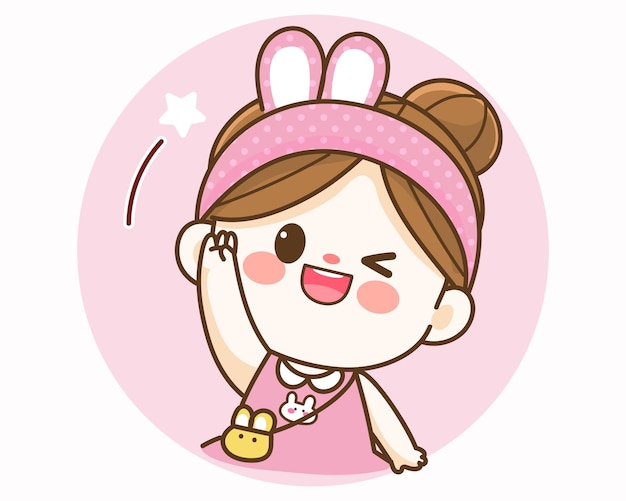 Joyeuse fille mignonne heureuse saluant avec l'illustration d'art de dessin animé de main