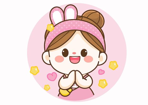 Joyeuse fille mignonne saluant avec illustration d'art de dessin animé namaste