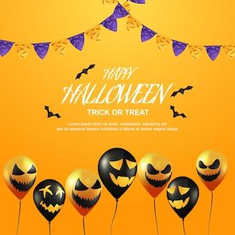 Joyeuse friandise ou astuce d'halloween avec un ballon