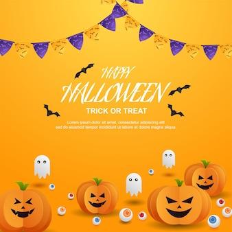 Joyeuse Friandise Ou Astuce D'halloween Avec Des Citrouilles En Papier Découpé Vecteur Premium