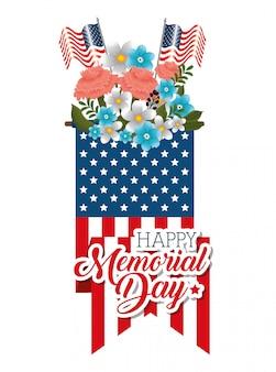 Joyeuse journée commémorative avec de belles fleurs et des drapeaux américains