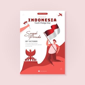 Joyeuse journée d'engagement des jeunes ou célébration de l'illustration de la sumpah pemuda sur le modèle d'affiche