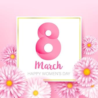 Joyeuse journée de la femme 8 mars calligraphie de texte avec fleur de beauté