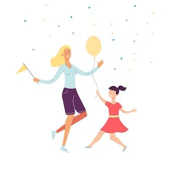 Joyeuse mère et fille heureuse dansant des personnages de dessins animés, illustration sur fond blanc. fête et bonheur en famille.