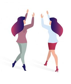 Joyeuse rencontre des amis plat illustration vectorielle.