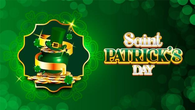 Joyeuse saint-patrick pile de pièces et chapeau de lutin