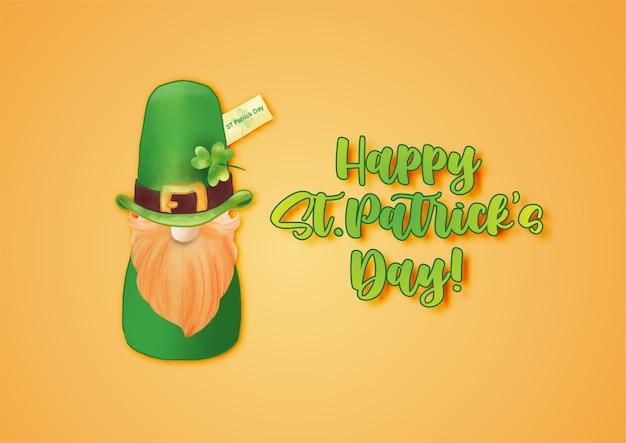 Joyeuse saint-patrick avec la poupée de la saint-patrick et le chapeau vert sur orange
