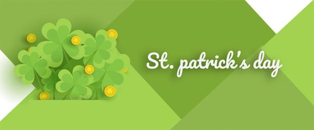 Joyeuse saint patrick avec quatre feuilles vertes et or et des feuilles d'arbre dans un style de papier découpé.