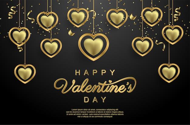 Joyeuse saint-valentin avec amour d'or réaliste sur fond noir