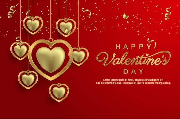 Joyeuse saint-valentin avec amour d'or réaliste