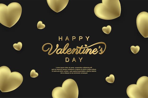 Joyeuse saint-valentin avec ballon d'amour or réaliste sur fond noir